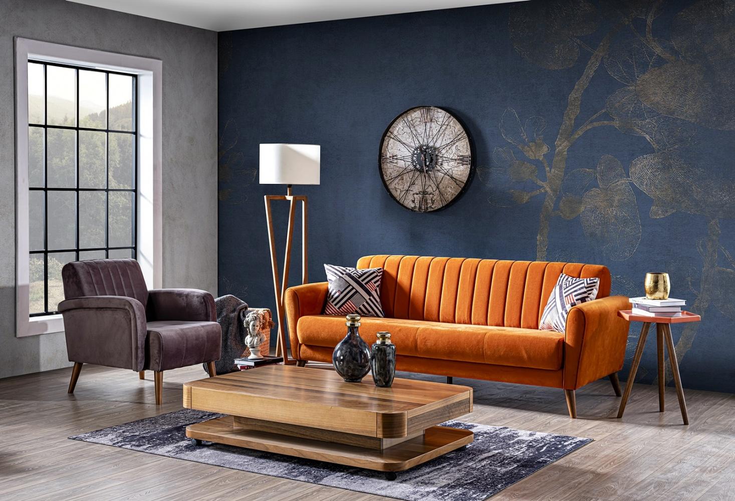 Couch Garnitur Maya 19-teilig Retrostyle Orange