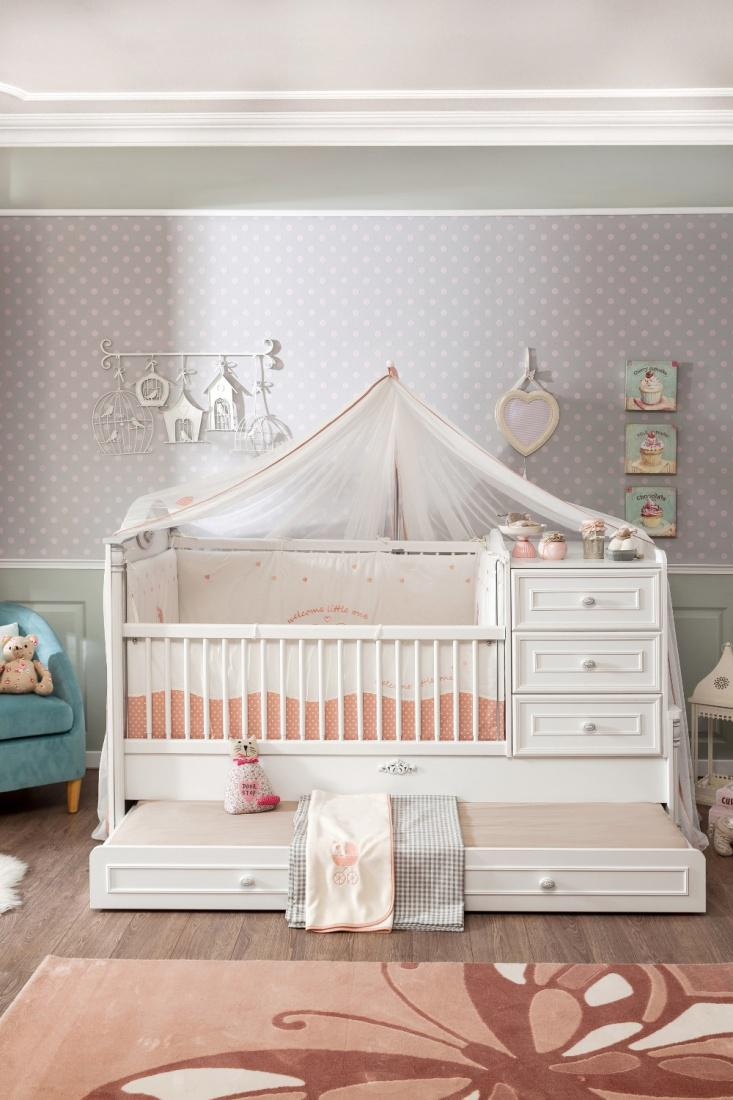 cilek romantic baby bett mitwachsend mit ausziehbett kaufen bei m bel lux. Black Bedroom Furniture Sets. Home Design Ideas