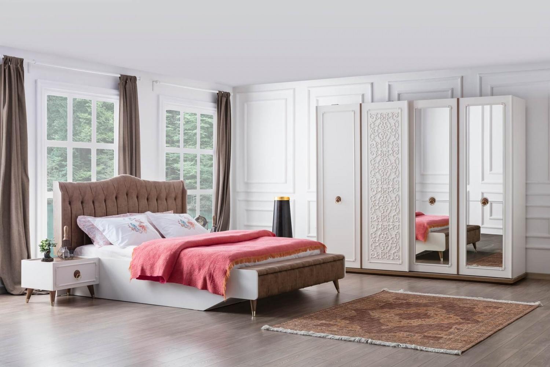 Schlafzimmer komplett mit Stauraumbett Boston Cream