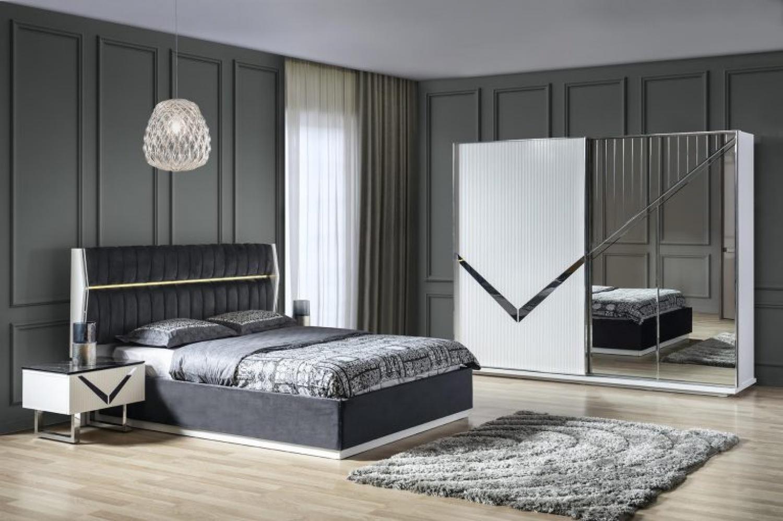 Schlafzimmer Veno Set In Grau Weiss 4 Teilig Kaufen Bei Mobel Lux