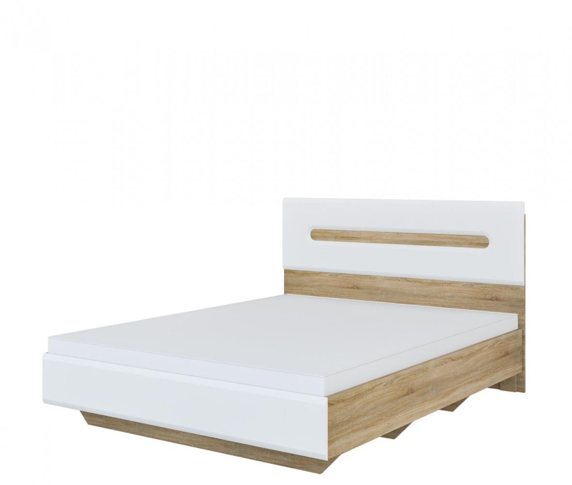 Schlafzimmer Bett 160x200 In Eiche Weiß Leonardo Kaufen Bei Möbel Lux