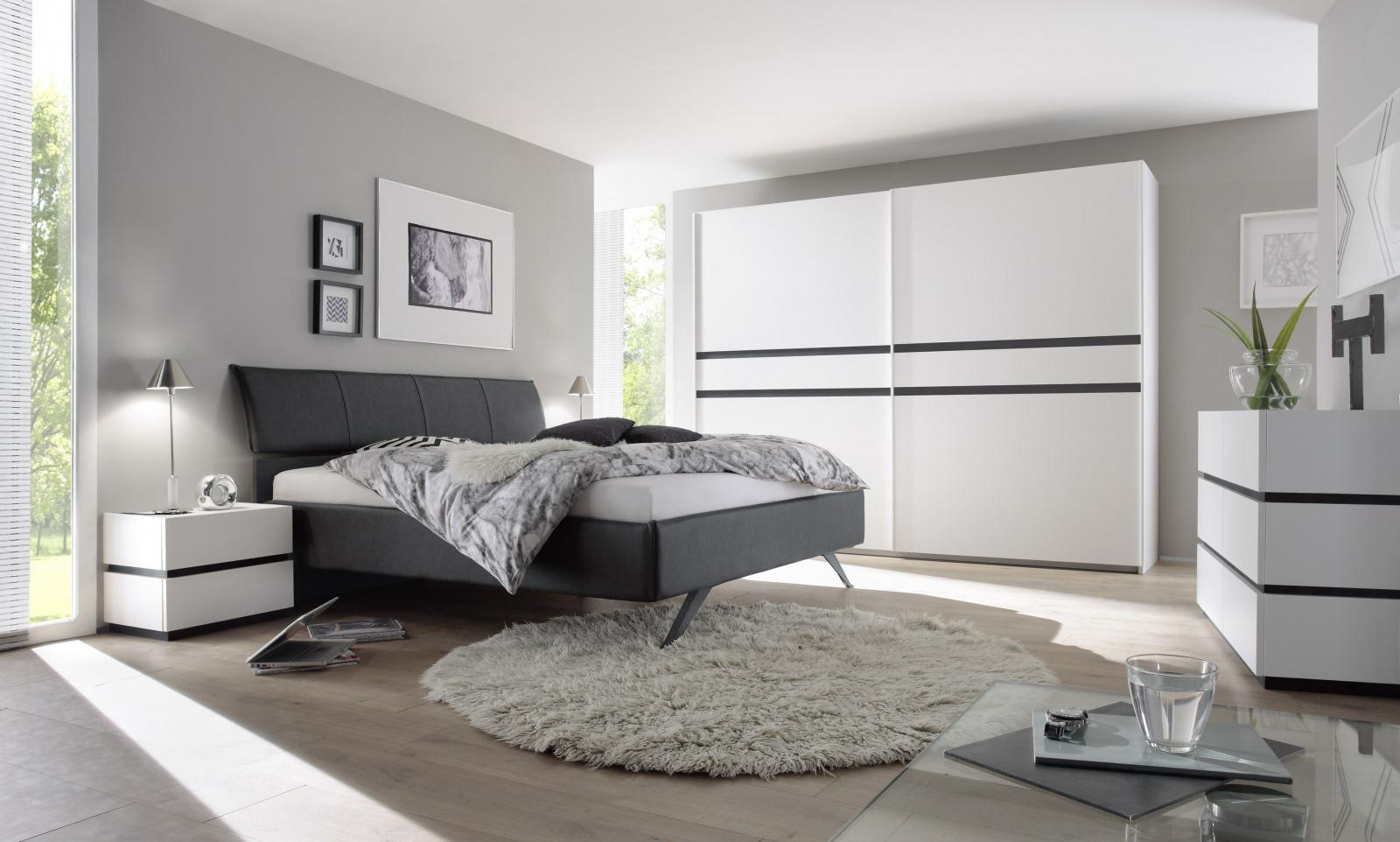 Universe Schlafzimmer-Set Weiß mit Anthrazit Matt - Kaufen bei Möbel-Lux