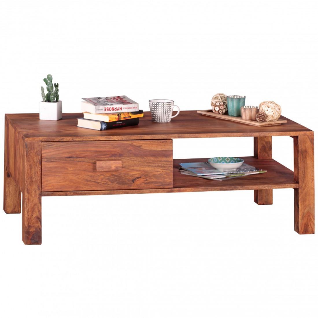 WOHNLING Couchtisch Massivholz Sheesham Design Wohnzimmer-Tisch 110 ...