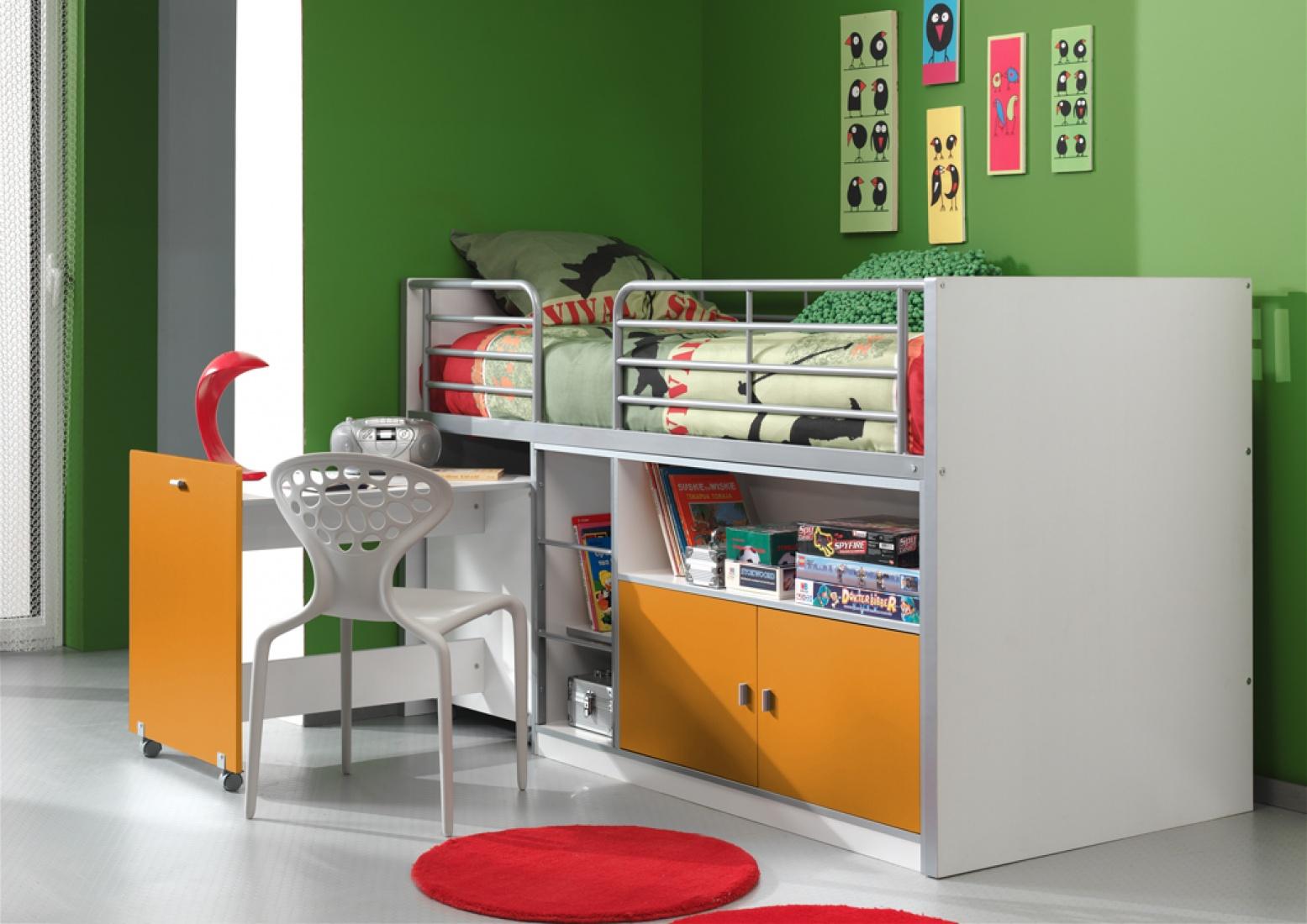 Bunny Hochbett 90x200 mit Schreibtisch Orange