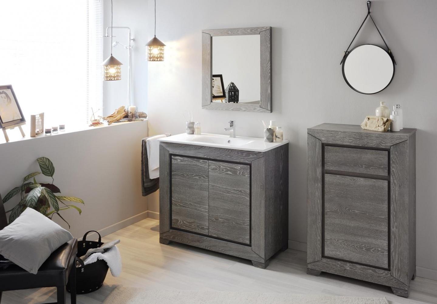 Badmöbel Set Tasso in Grau Eiche Dekor 4-teilig - Kaufen bei Möbel-Lux