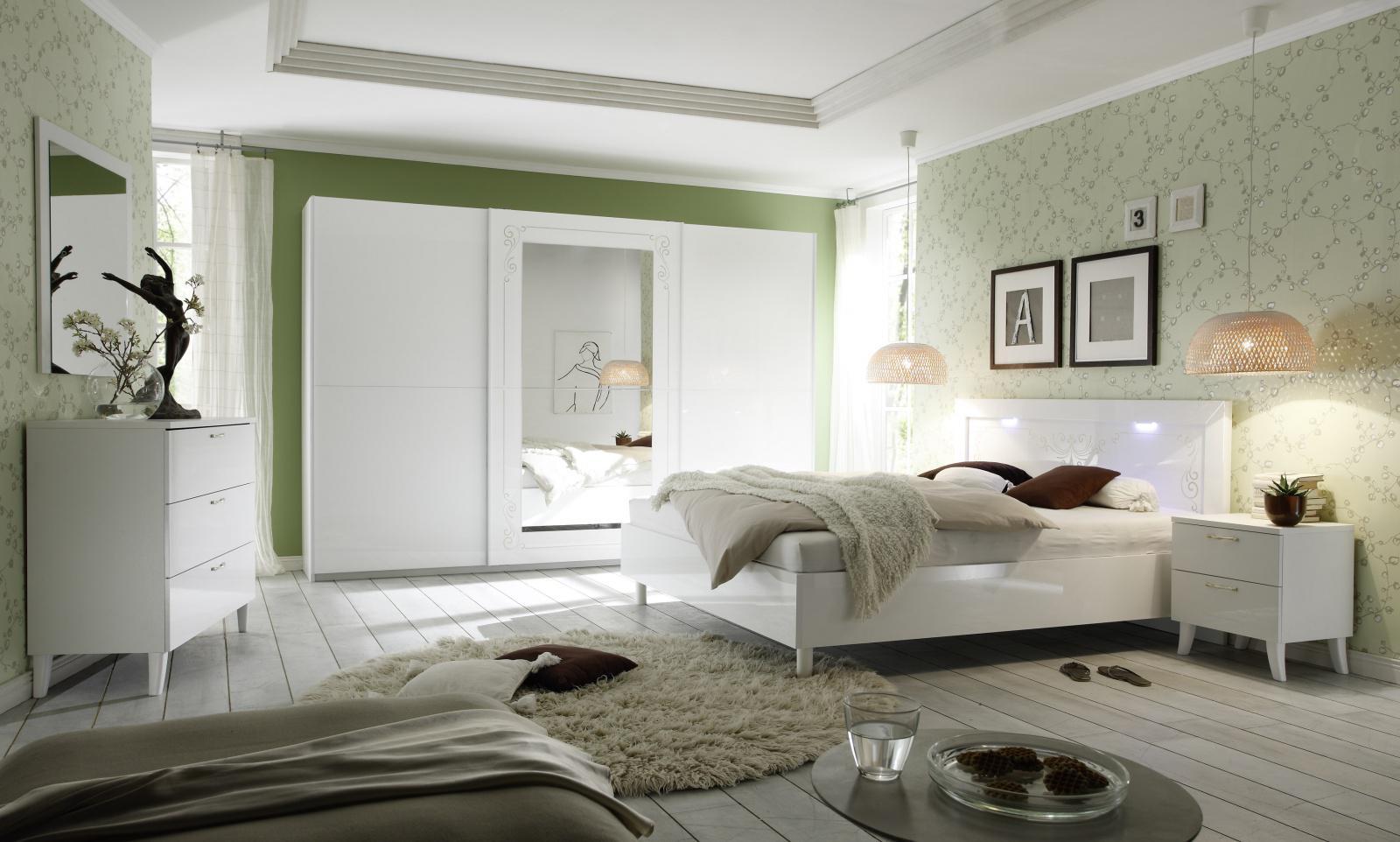 Schlafzimmer Set Casa Weiß Hochglanz 4 Teilig 1 ...