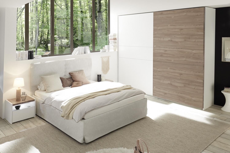 Schlafzimmer Set Weiß Nussbaum hell Full Luana
