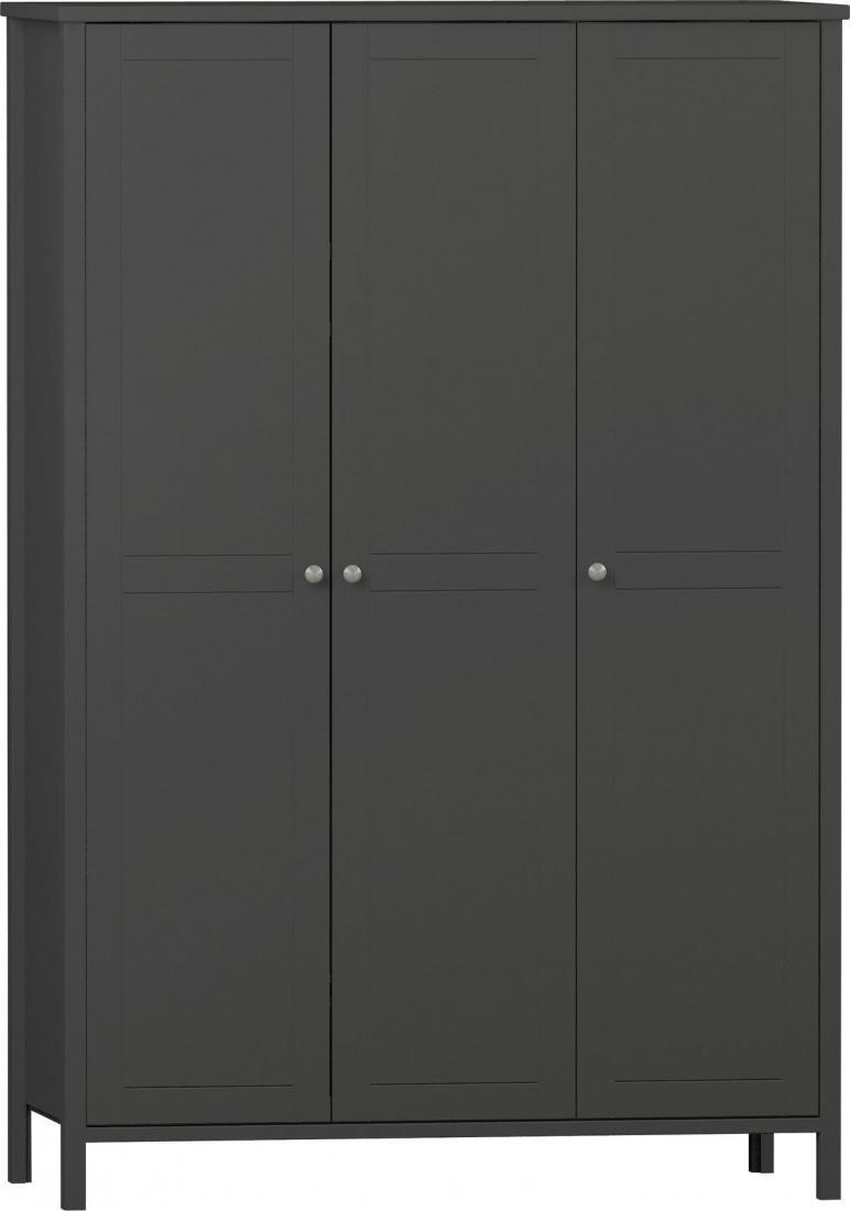Kleiderschrank Aletta 3 Turig Schwarz Braun Mdf Kaufen Bei
