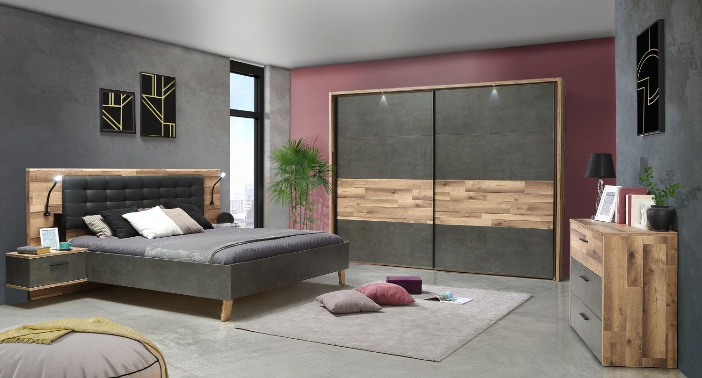 Schlafzimmer komplett Eiche Optik Ricco 13-teilig