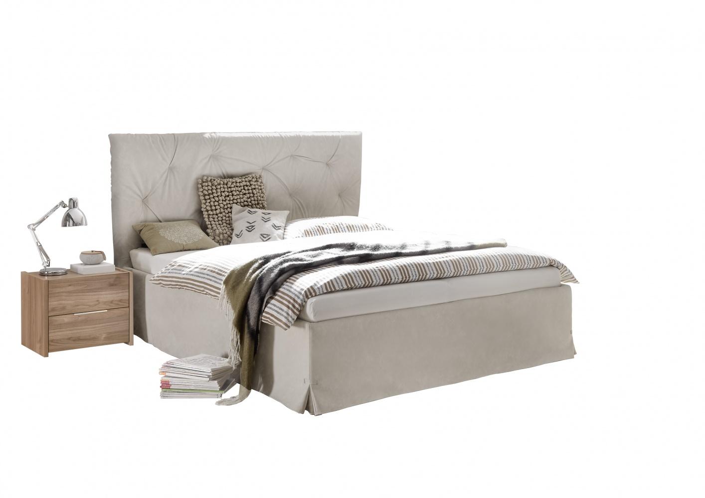 Modernes Bett Kunstleder Natur Luana Alpaca 160x200
