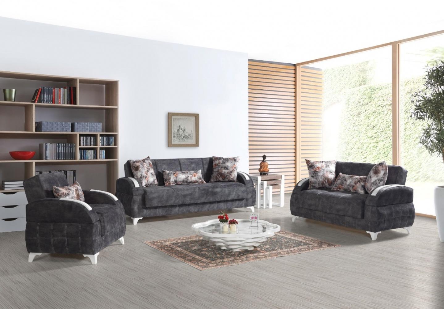 Sofa Garnitur Mit Schlaffunktion Dunkelgrau Diva 321 Kaufen Bei
