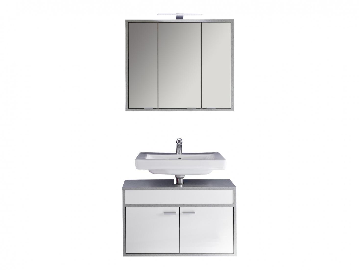 Liebenswert Spiegelschrank 3 Türig Sammlung Von Gulia 3-türig In Weiß-beton 1