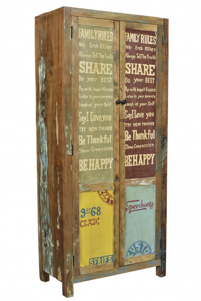 Garderobenschrank Holz Avias mit 2 Türen Bunt - Kaufen bei Möbel-Lux