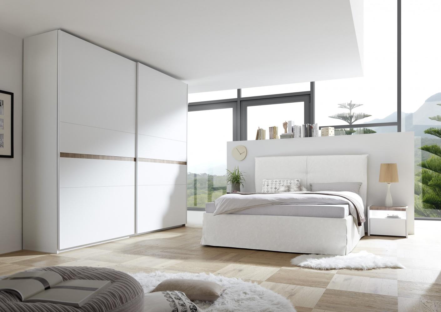 Schlafzimmer Set in Weiß und Nussbaum dunkel Luana