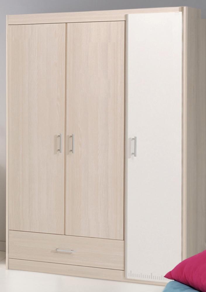 Kinderkleiderschrank Tesso in Akazie 3-türig - Kaufen bei Möbel-Lux