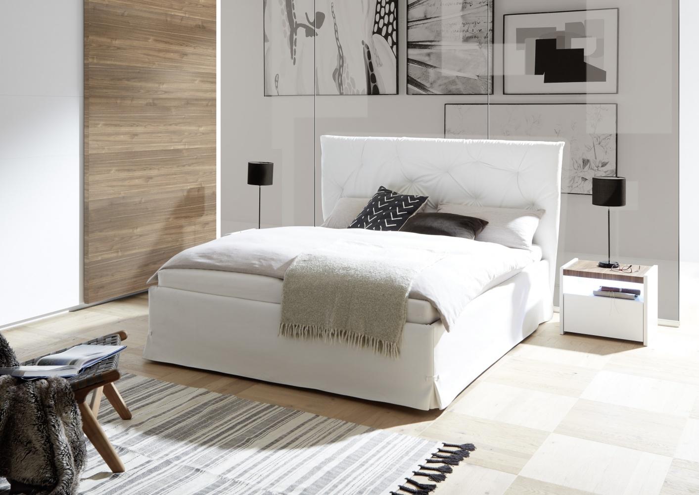 Modernes Bett Kunstleder Weiß Luana Alpaca 160x200 - yatego.com