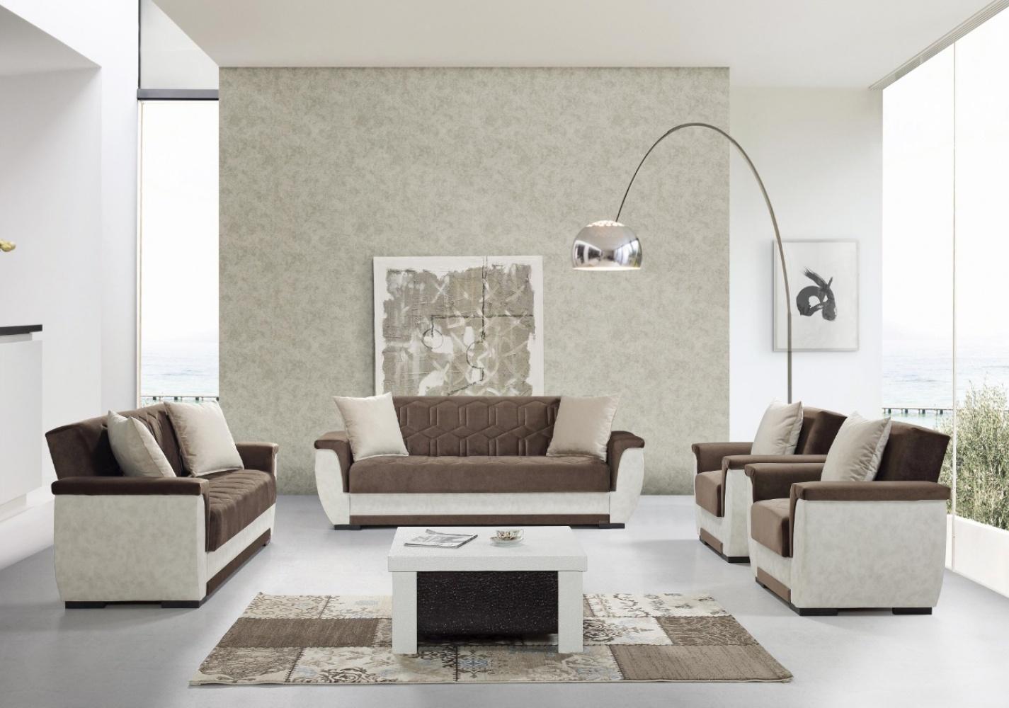 Sofa Couch Set mit Schlaffunktion Acelya 3+2+1 Braun Beige