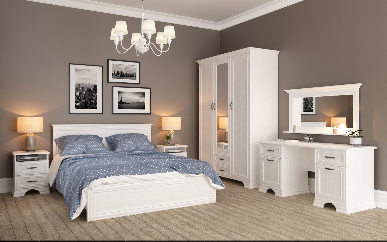 Landhaus Schlafzimmer Weiß Juna 5-teilig 140x200 - yatego.com