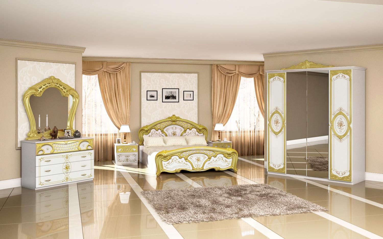 Schlafzimmer Barock Stil Julianna 4-teilig Weiß Gold - Kaufen bei Möbel-Lux