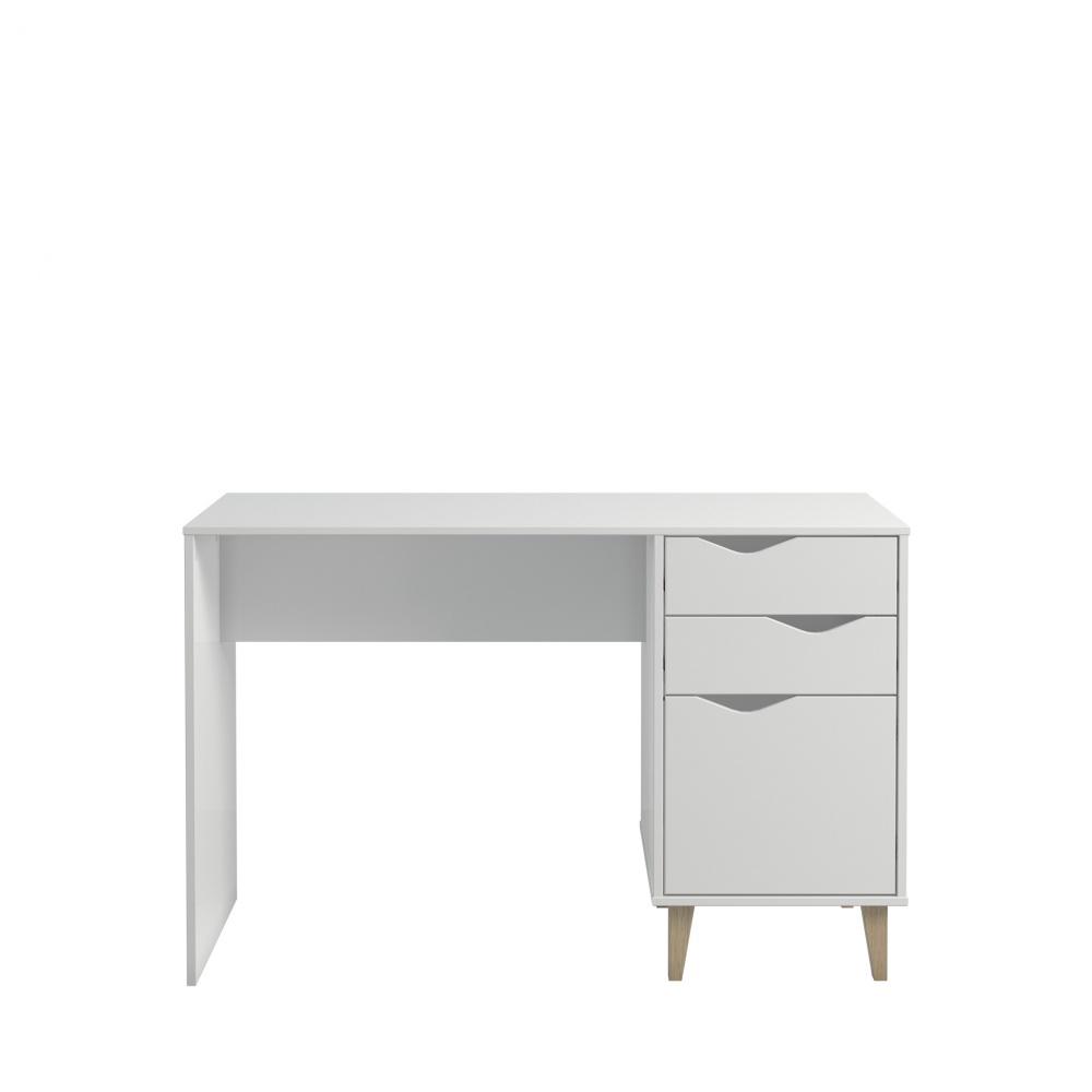 Design Schreibtisch Weiß Sandi mit Schubkästen