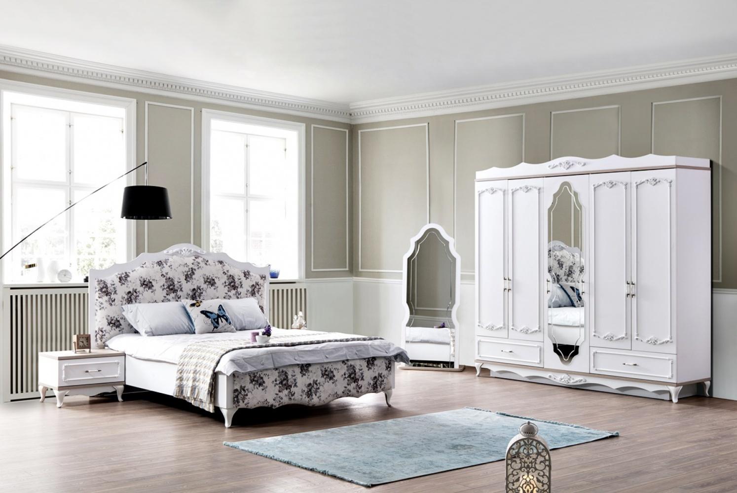 Schlafzimmer komplett mit Stauraumbett Natalee Weiß