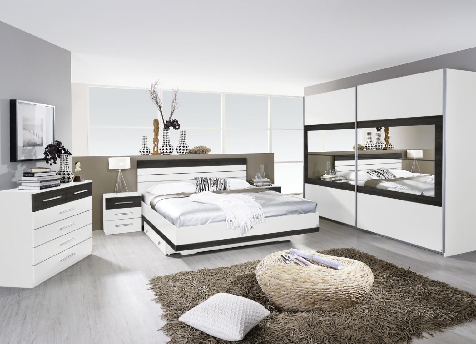 Komplett-Schlafzimmer TARRAGONA (4-teilig) alpinweiß / Wenge shiraz ...
