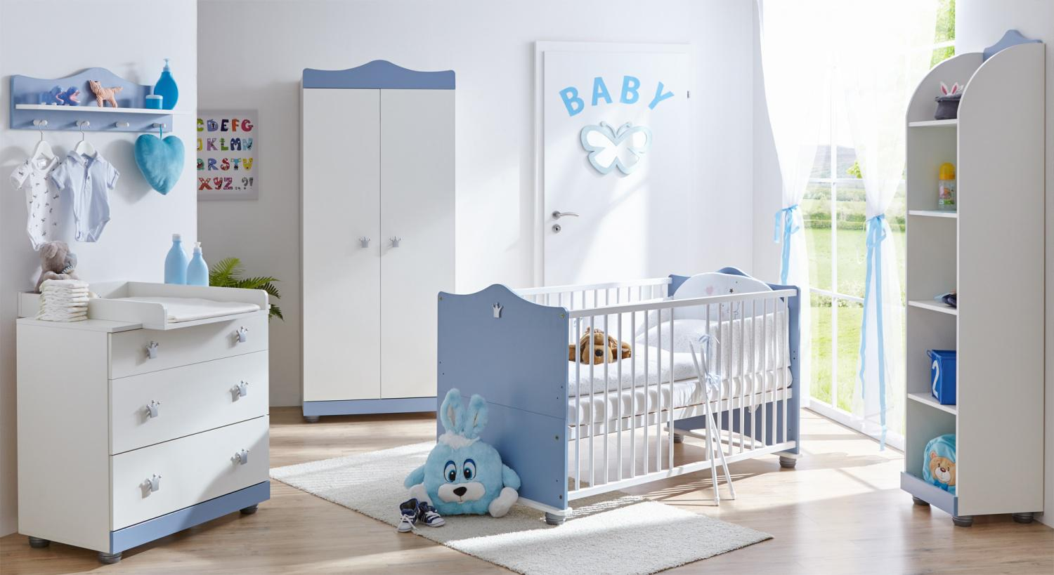 jungen babyzimmer milan 5 teilig blau wei kaufen bei. Black Bedroom Furniture Sets. Home Design Ideas