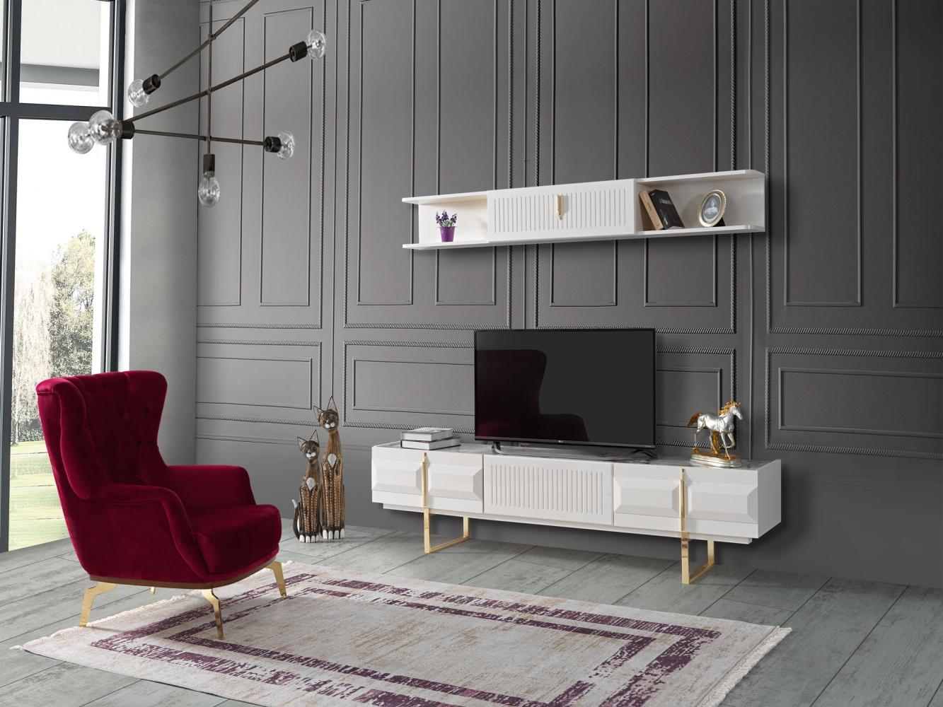 Wohnzimmer TV Wand Pianno mit Unterschrank Weiß