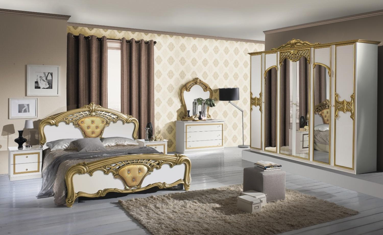 Barock Schlafzimmer Weiß Edeline mit 4-türigem Schrank