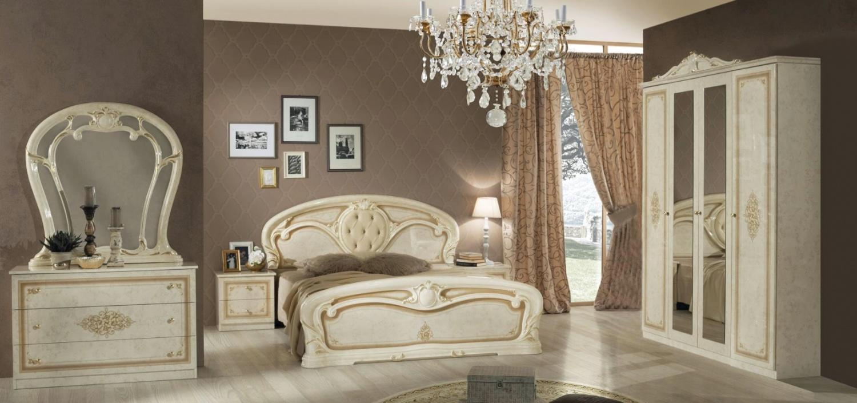 Barock Schlafzimmer Beige Cristal mit 4-türigem Schrank