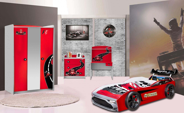 Kinderzimmer Autobett GT18 Turbo 4-teilig in Rot - Kaufen bei Möbel-Lux