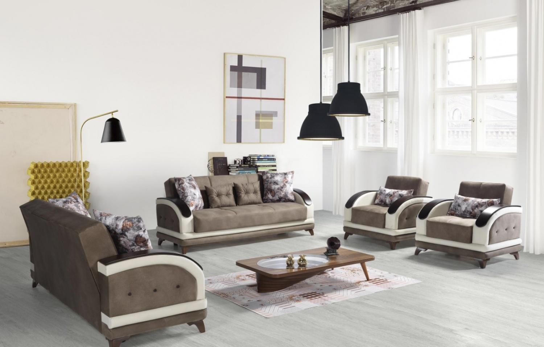 Couch Set Sofa mit Schlaffunktion Asos 3+2+1 Braun Beige