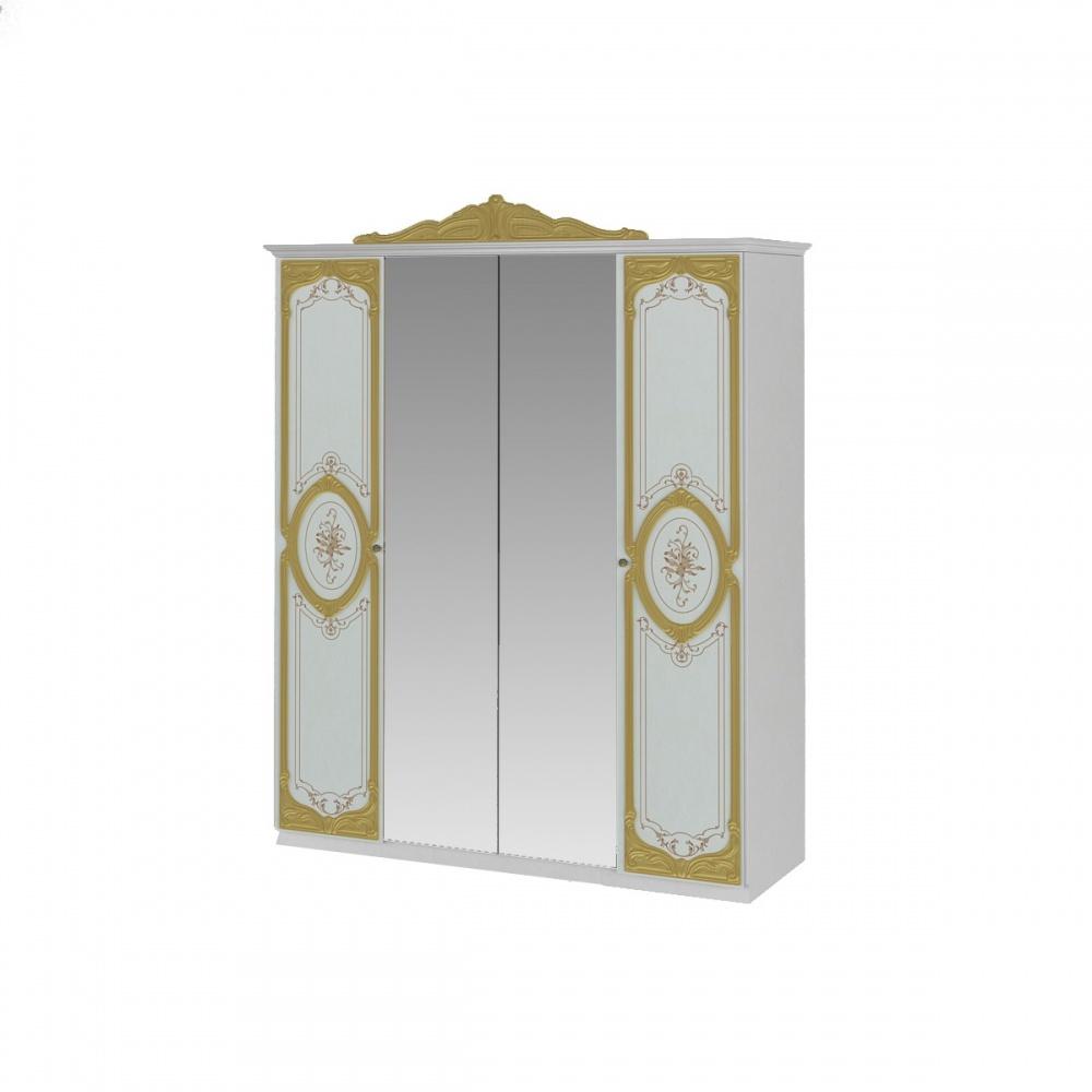 Kleiderschrank Barock Stil Julianna in Weiß Gold - Kaufen bei Möbel-Lux