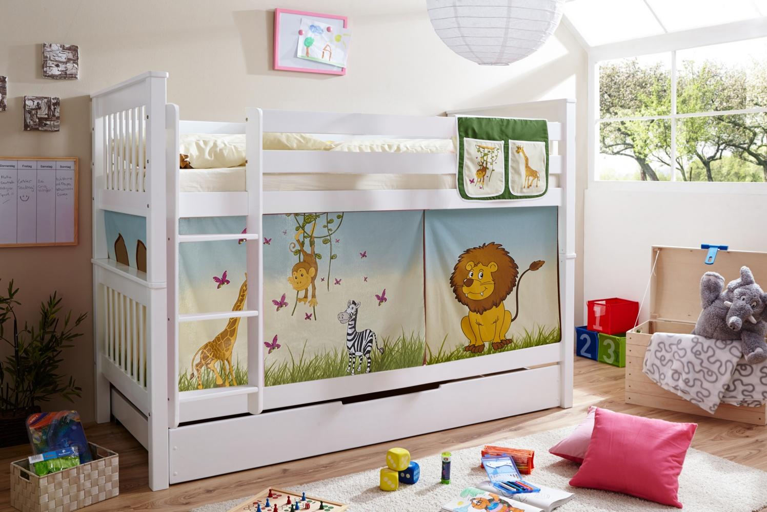 Kinderhochbett  Kinderhochbett für zwei Buche massiv Linos inkl. Vorhang - Kaufen ...