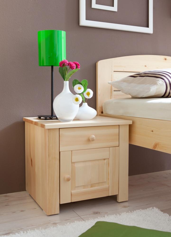nachttisch kiefer massiv maila mit 1 schublade kaufen bei m bel lux. Black Bedroom Furniture Sets. Home Design Ideas