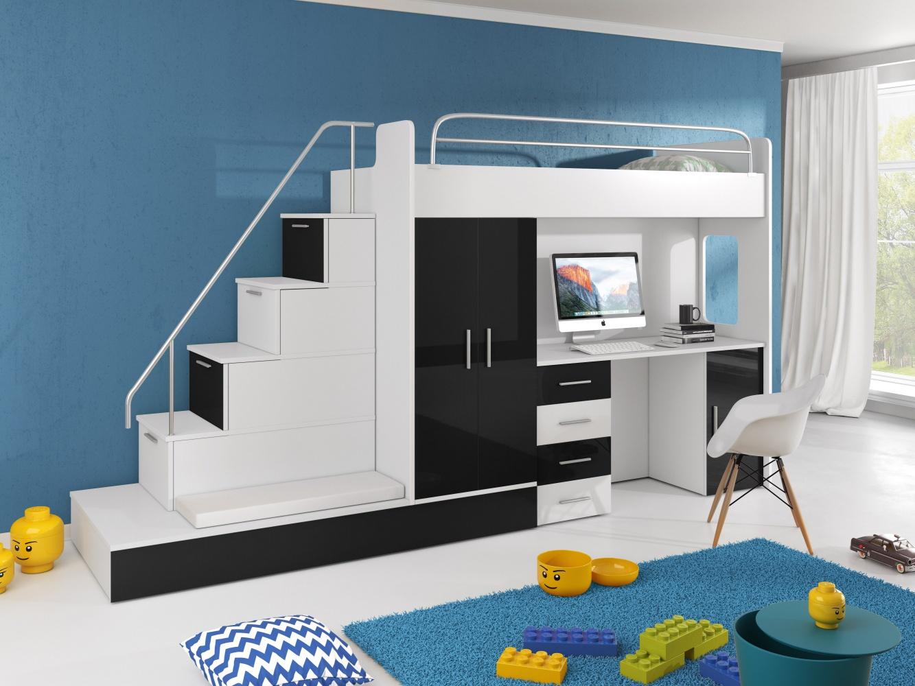 Etagenbett Liegefläche 80 180 : Hochbett mit treppe beluzi inkl. gästebett kaufen bei möbel lux
