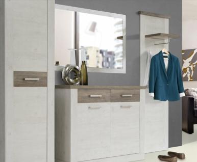 Garderoben Set in Pinia Weiß Hedda 4-teilig