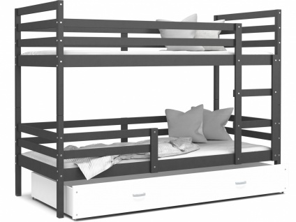 Etagenbett mit Bettlade Grau Weiß Rico 80x190