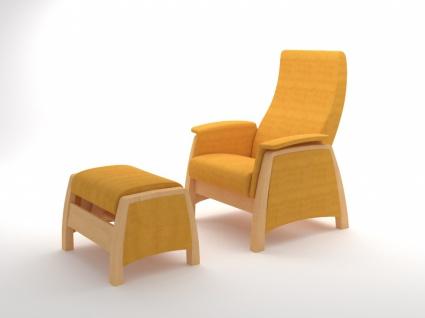 Sessel mit Gleitfunktion und Hocker Balance Natur Gelb