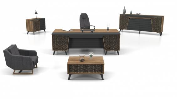 Design Büromöbel Lazer Holz Optik Grau 3-teilig