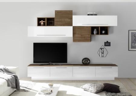 Wohnwand Set Veldig Weiß Nussbaum Optik dunkel