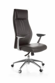 XXL Chefsessel OXFORD 1 Echtleder Braun Bürostuhl 5-Punkt Synchronmechanik Drehstuhl 120kg