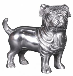 Deko Hund BULLDOGGE Aluminium silbern 19 cm handgefertigt
