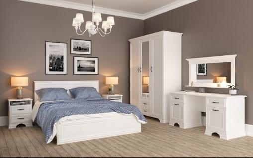 Landhaus Schlafzimmer Weiß Juna 5-teilig 140x200