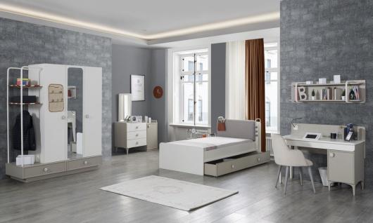 Jugendzimmer komplett Set Alpha 6-teilig mit Bett 100x200