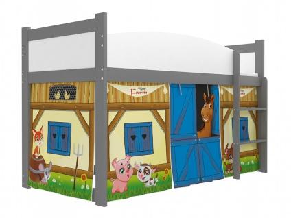 Kinder Hochbett in Grau mit Vorhang Twist Farm