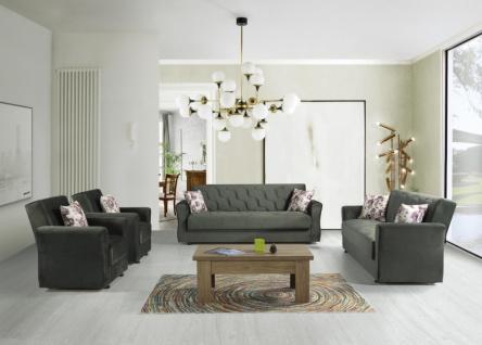 Sofa Couch Garnitur mit Stauraum in Grün Milan 3+2+1