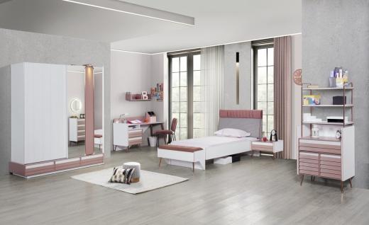 Jugendzimmer Rosi Set 7-teilig in Weiß-Rosa