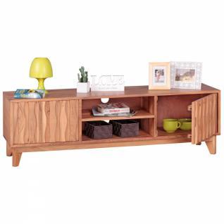 WOHNLING Lowboard Massivholz Akazie Kommode 146cm TV-Board 2 Fächer und Türen Landhaus-Stil Unterschrank TV-Möbel