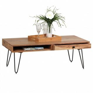 WOHNLING Couchtisch Massiv-Holz Akazie 120 cm breit Wohnzimmer-Tisch Design Metallbeine Landhaus-Stil Beistelltisch